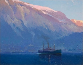 "Courtesy of the Juneau-Douglas City Museum, ""Early Morning, Juneau, Alaska"" by Sydney Laurence"